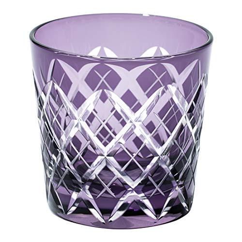 江戸切子 矢来紋 冷酒杯(江戸紫)TB90152-1M 木箱入り 太武朗工房直販 日本製