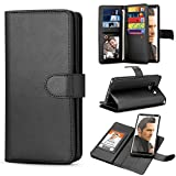 TILL for Galaxy S6 Edge Case, TILL S6 Edge Wallet Case 2in1 PU Leather Carrying Flip Cover [Cash Credit Card Slots Holder & Kickstand] Detachable Magnetic Folio Slim Protective Hard Case Shell [Black]