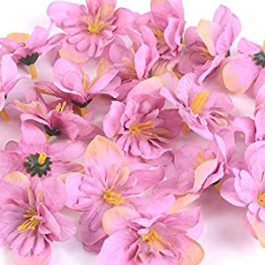 BoKa Store – 50Pcs/Lot DIY Wedding Home Decor Orchid Artificial Flower Head for Wreath Scrapbooking Box Gift Delphinium Fake Flower Craft – Purple Red – 20pcs Decorative Flowers