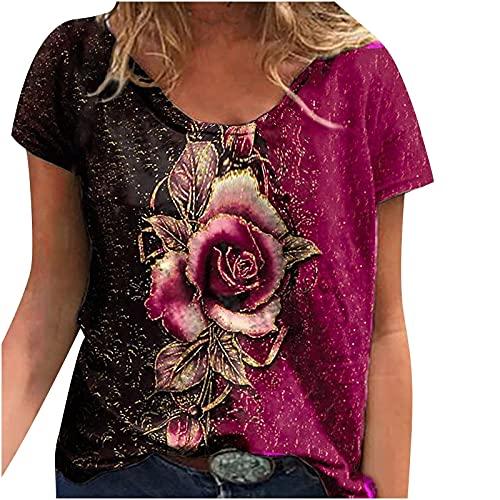 EMATOP Damen T-Shirt Oberteile Bluse Sommer Kurzarm Blusen Casual Mode Blusen & Tuniken Rose Vintage Drcuken Frauen Locker Flowers V-Ausschnitt Lässiges Bequemes Sweatshirts Elegante Streetwear