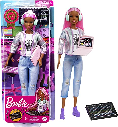 Barbie Career of The Year Music Producer Doll (12-in), Colorful Pink Hair, Trendy Tee, Jacket & Jeans Plus Sound Mixing Board, Computer & Headphone Accessories, Great Toy Gift