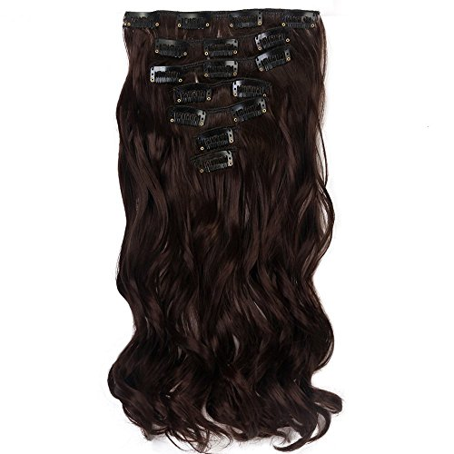 Neverland Beauty 22' Full Head Clip Extensión del pelo Hair Extensions , Wavy-7 Piece with 16 clips, Medium Brown
