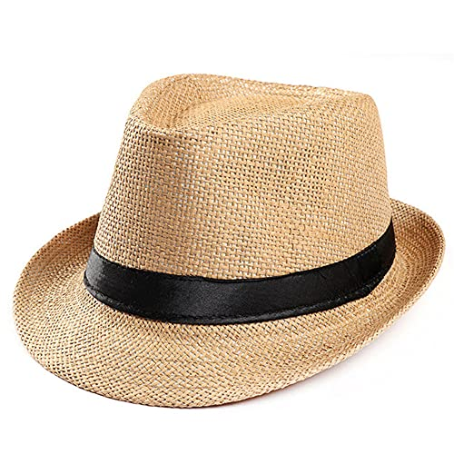 Sombrero de Paja para el Sol Unisex Trilby Cap BeachBandSombrero para el Sol Sombrero dePaja para Bodas Mujeres Hombres Gorra con Cinta Negra-a8