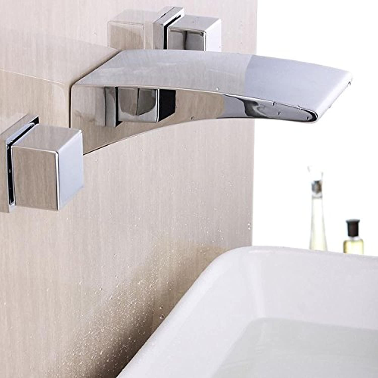FEN Chrome-plated waterfall into the wall three-piece bathroom bathroom faucet faucet