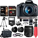 "Canon EOS Rebel T7 24MP Camera with EF-S 18-55mm is II Lens, 2 Memory Cards, Slave Flash, 50"" Tripod, Camera Bag, Cleaning Kit and Memory Card Reader/Writer Bundle"