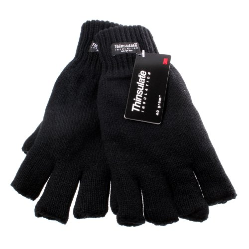 Accessoryo - Hommes Large/Extra Large Isolation Thinsulate Noir 40 Grammes De Gants De Mode Doigts