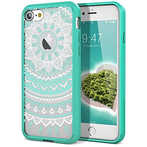 SmartLegend iPhone 8 Case/iPhone 7 Case, Girls Women Slim Anti-Slip Clear Soft TPU Bumper + Hard PC Back Shockproof Full-Body Protective Cover for iPhone 7/8- Mint Mandala