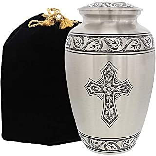 Grace and Mercy Pewter Cross Adult Cremation Urn for Human Ashes - A Warm and Lovely Large Urn with a Hand Crafted Classy Finish to Honor Your Loved One - with Velvet Bag