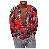 D-Rings Camisa de manga larga para hombre, estilo casual, tallas grandes, algodón y lino, con solapa, rojo, XXXL
