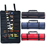 Kani Rolling Tool Bag, Large Tool Roll Up Pouch with 22 Pockets, Waterproof Canvas Wrench Roll Organizer Bag for Craftwork Handyman Electrician (Black)
