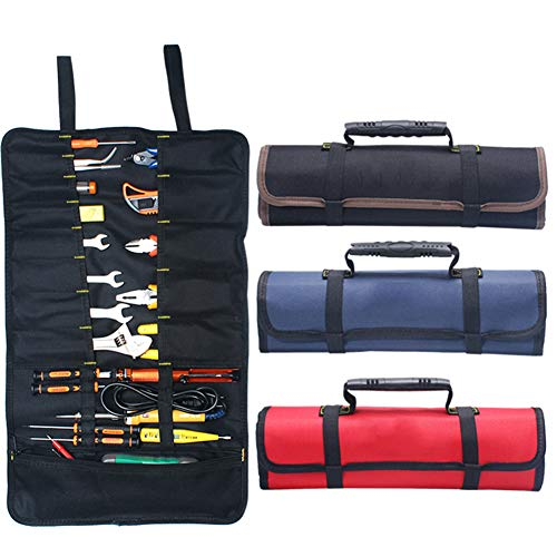 Kani Werkzeugtasche zum Rollen, große Werkzeugtasche mit 22 Fächern, wasserdichte Canvas-Schraubenschlüsselrolle für Handwerk, Heimwerker, Elektriker (blau)