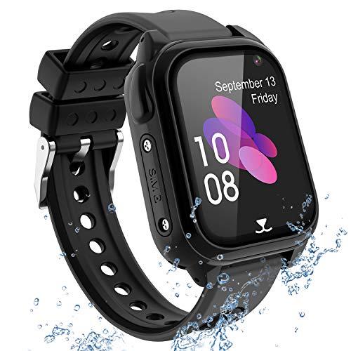 Reloj Inteligente Teléfono para niños Impermeable, GPS+LBS Rastreador Podómetro cámara SOS Pantalla táctil HD Conversación Bidireccional Reloj inteligente para niños, Regalo para niños, Negro