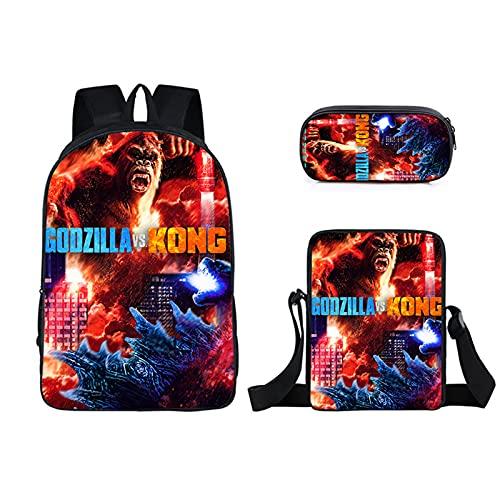 GD-SJK Amacigana Godzilla vs Kong Monster - Mochila escolar para niños, tejido de nailon, transpirable y cómoda, 2, 17 pulgadas,