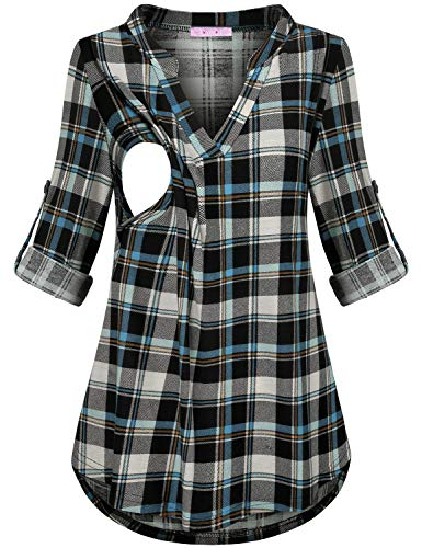JOYMOM Plaid Tunic Tops,Gravida Long Sleeve Stylish Patchwork Nursing Shirt Maternity Soft Nice Pump Easy Breast Feeding Hip Length Beautiful Heavy Tee Blue Black S
