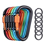 6 Pcs Upgraded D-Ring Locking Carabiner, 3.1 Inch D Shape Keychain Clips