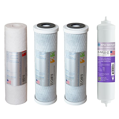 APEC FILTER-SET-PH US MADE 90 GPD Replacement Filter Set for ULTIMATE Series Alkaline Reverse Osmosis Water Filter System Stage 1-3&6