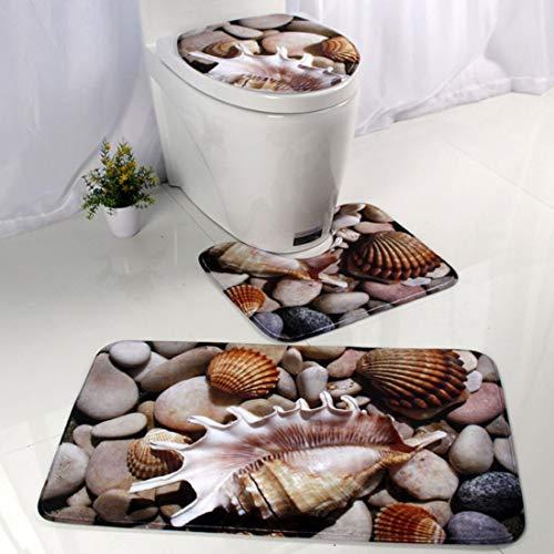 LIZHIOO Badematte 3pc Badezimmer Mat Antirutsch Ocean World Flanell Teppiche Pedestal Teppich Deckel Toiletten-Abdeckung Bodenmatte Pad Badezimmer (Color : C)