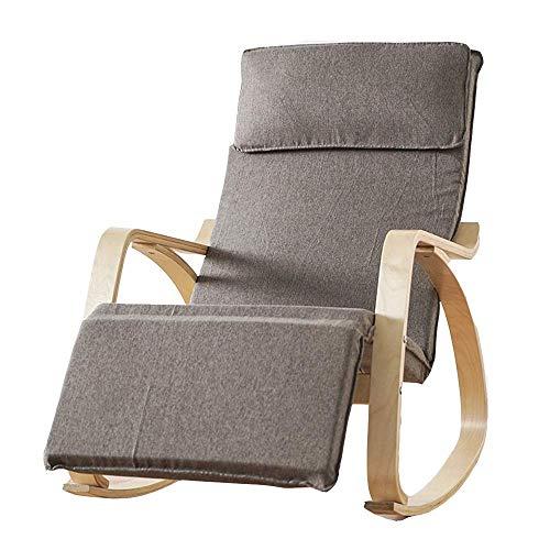 Chaise Longue en Bouleau, Chaise berçante de Relaxation, Design à pédale, Chaise Longue, Fauteuil inclinable, Tapis Multi-Coton 7 Couleurs Disponibles