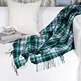 Mychipro Plaid Throw Blanket - Green Throw Blanket - Cozy Warm Blanket for Home, Bed or Travel - All Season Throw - Gift Wrap with Thank You Card - 50 x 60-inch Blanket