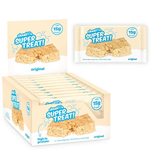Cloud10 High Protein, Gluten Free, Kosher, No Artificial Sweeteners, Peanut Free, Non-Gmo, Marshmallow Rice Crispy Treats - - 75g Size - 10 Count, Original 26.5 Ounce