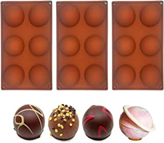 3 Pcs 6 Holes Silicone Mold for Chocolate Cake Jelly Pudding Semi Sphere Silicone Mold BPA Free Cupcake Baking Pan for Kit...