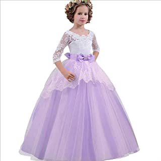 SEASHORE Girls 5-14 Years Off Shoulder Bowknot Princess Dress Satin Flower Girl Wedding Costume Piano Performance Clothing (Color : Purple, Size : 7-8Years)