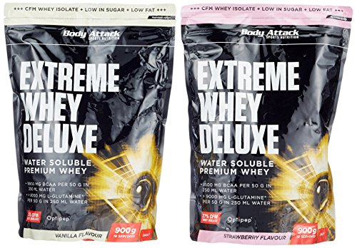 Body Attack Extreme Whey Deluxe, Strawberry Cream + Vanille, 1800 g, 2 Stück