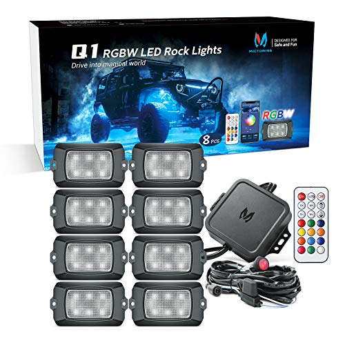 MICTUNING Q1 RGBW LED Rock Lights, Pure Color 8 Pods Underglow Neon Multicolor Lighting with Wiring Switch Kit, Bluetooth Controller, Remote Control, Music Mode