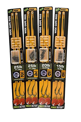 FOX Edges Armapoint Wide gape rigs 22cm Green - 2 Karpfenrigs zum Karpfenangeln, Vorfächer für Karpfen, Karpfenmontage, Karpfenvorfach, Größe/Tragkraft:Gr. 4 / 25lbs