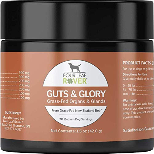 Four Leaf Rover: Guts & Glory - 100% Grass-Fed Raw Beef Organs for Dogs - Up to 45 Servings  Depending on Dog's Weight - Easy to Mix - Vet Formulated - for All Breeds