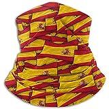 Calentador de Cuello de vellón:Tubo de Polaina con Cuello de Bandera de Onda de España,pañuelo,máscara,Diadema y Gorro