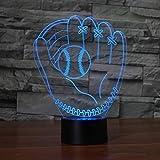 Guantes De Béisbol Modelo Lámpara De Ilusión Óptica Lámpara 3D Led Luz Nocturna Lámpara De Atmósfera Acrílica Lámpara Moderna De 7 Colores