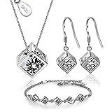 Juego de Joyas de Plata 925 para Mujer, Conjunto de Collar Pendientes y Pulsera con Circonitas,...