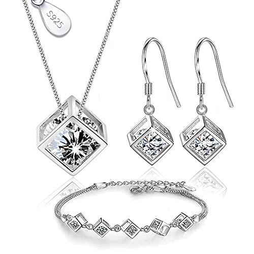 Juego de Joyas de Plata 925 para Mujer, Conjunto de Collar Pendientes y Pulsera con Circonitas, Hermosa Caja de Regalo (Pendientes Aros)