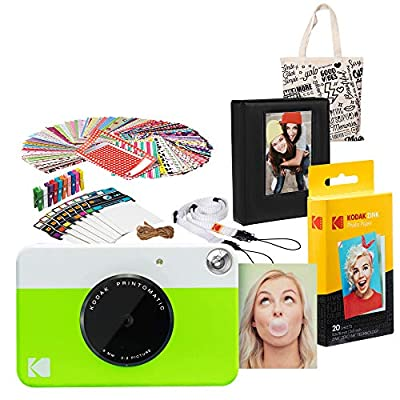 Kodak PRINTOMATIC Instant Print Camera (Green) Gift Bundle with Photo Album, AMZASK3RODGN from Kodak