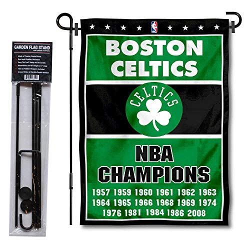 WinCraft Boston Celtics 17 Time Champions Garden Flag and Pole Stand Holder