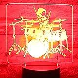 3D LED Night Light Drum Kit Set Viene con 7 colores de luz para la lámpara de decoración del hogar Increíble visualización Ilusión óptica Impresionante