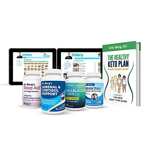 Dr. Berg's Adrenal Body Type Kit Supplement - Complete Daily Support Program for a Healthy Adrenal Body Type – Stress Relief, Fight Fatigue, Belly Fat - Rejuvenate Your Metabolism