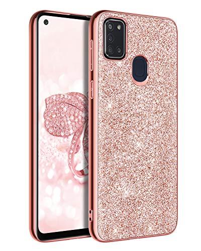 BENTOBEN Samsung Galaxy A21S Hülle, Handyhülle Samsung Galaxy A21S Case PC Schale mit TPU Bumper leicht dünn Kratzfest Anti Rutsch Schutzhülle Glitzer Hülle für Samsung Galaxy A21S Rosegold
