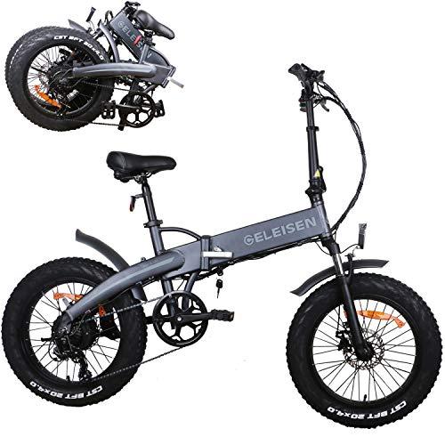 """cinsey Elektrofahrrad Ebike Mountainbike, 20\"""" Elektrisches Fahrrad mit 48V/12.5Ah Lithium-Batterie und Shimano 21-Gang, 500W Fettreifen Elektrisch klappbares Strand-Snowbike"""
