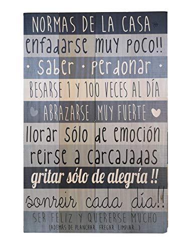HOGARMISORPRESA Tabla Madera Mensaje: Normas DE LA CASA Tabla Decorativa 50x32 cm (Gris)