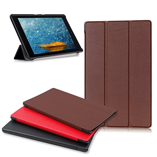 Amazon Fire HD 8 Tablet Case, Buruis Premium Leather shockproof fire 8 Case Trifold Stand Cover With Auto Wake Sleep for Kindle Fire HD 8 Tablet, (Brown)