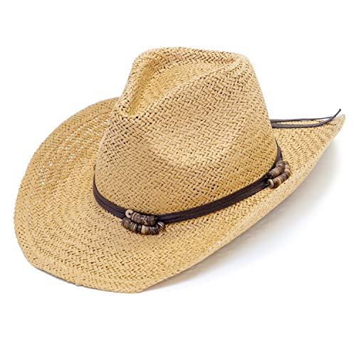 Old Stone Straw Cowboy Cowgirl Hat for Men/Women Unisex Summer Winter Wide Brim Sun Hat Dallas Western Style for Safari Fishing Beach Golf Hiking Multipurpose,Chloe Light Brown