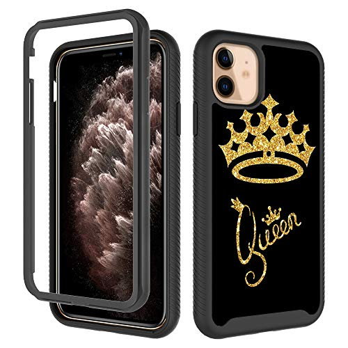 GUGU6JI iPhone 11 Cases, Queen Gold Crown Pattern Golden Glitter Stylish Design Shockproof Rugged Cover Dual Layer Soft TPU + Hard PC Bumper Full-Body Protective Case for iPhone 11 (6.1 inch) 2019