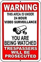 装飾バーパブホームヴィンテージの外観の再現、このプロパティを警告ビデオ監視サインセキュリティCCTV AS2610の下で警告、ツーリングバイクオフロードマウンテンバイクノベルティガレージティンサイン