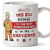 (Tazza in inglese) Vigile del fuoco Tazza originale Tazza regalo perfetto - Questa tazza appartiene al miglior pompiere dell'universo - 11 once di ceramica
