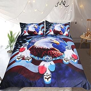 Sleepwish Eagle Bedding 3 Piece Bird Bedspread Bald Eagle with American Flag Super Soft Dark Blue Duvet Cover (Queen)
