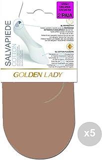 GOLDEN LADY, GOLDEN LADY Juego de 5salvapiede Beige 35/38Algodón 2Pares Calcetines para Mujer, Multicolor, única