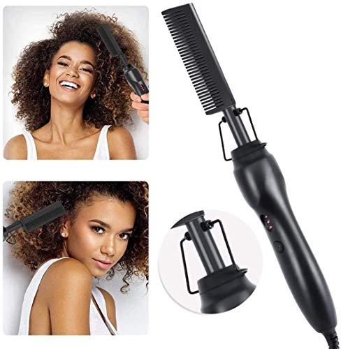 IVYRISE Electric hot comb,Hair Straightener Comb,Beard Straightening Comb, Ceramic Heating Press Comb for Men Women (black)