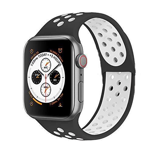 VIKATech Compatible con Apple Watch Correa 44mm 42mm, Correa Deportiva Reemplazo clásico de Silicona Suave Transpirable para iWatch Series 5/4/3/2/1, S/M, Negro/Blanco